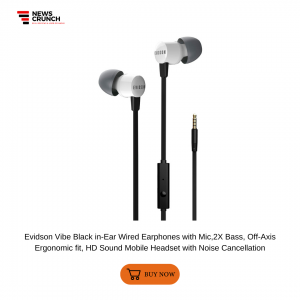 Evidson Vibe Black in-Ear Wired Earphones with Mic,2X Bass, Off-Axis Ergonomic fit, HD Sound Mobile Headset with Noise Cancellation
