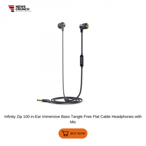 Infinity Zip 100 in-Ear Immersive Bass Tangle Free Flat Cable Headphones with Mic
